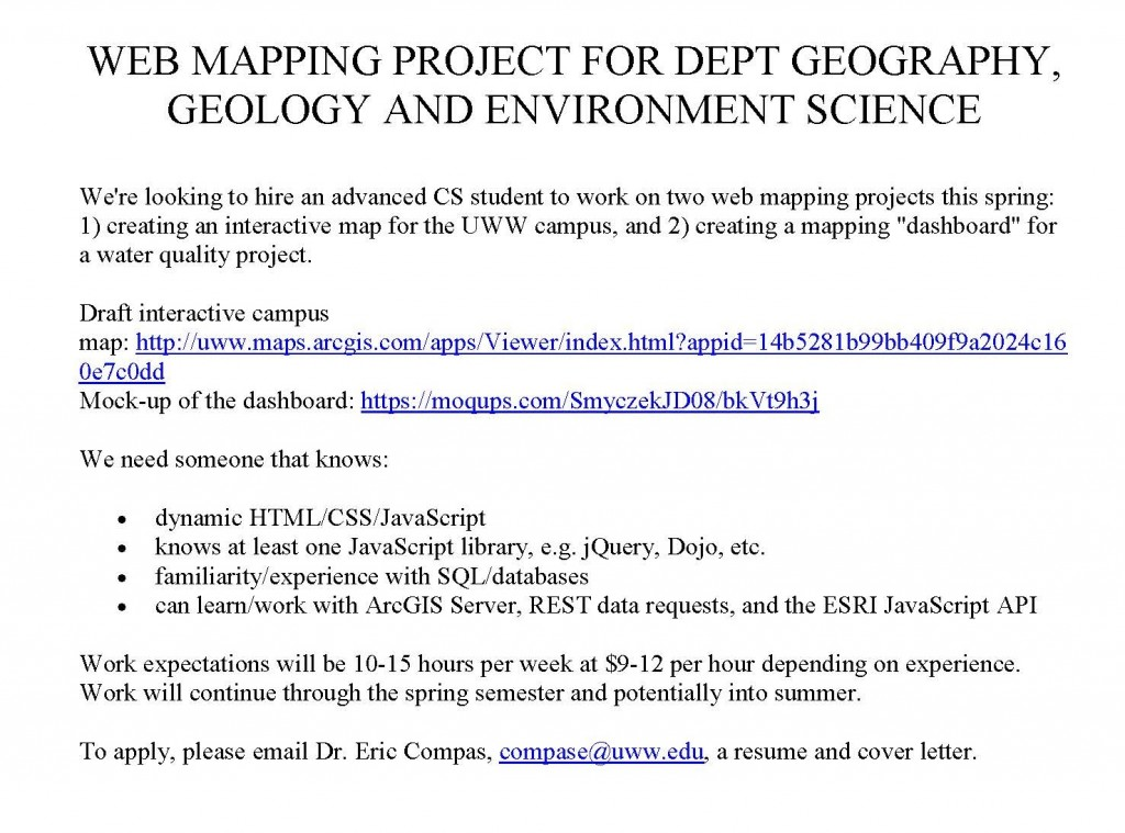 WEB MAPPING PROJECT FOR DEPT GEOGRAPHY